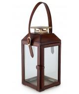 Malý dizajnový lampáš na sviečky z kože a skla