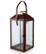 Veľký dizajnový lampáš na sviečky z kože a skla