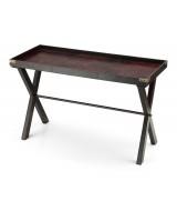 Drevo-kožený rozkladací stôl