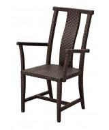 Orientálna ratanová jedálenská záhradná stolička Ming s opierkami