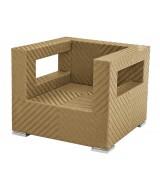 Luxusné ratanové kreslo Tangram hranatého moderného dizajnu