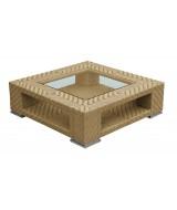 Nízky luxusný ratanový coffee stolík Tangram hranatého moderného dizajnu